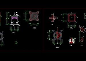 古典中式四角亭素材cad施工图