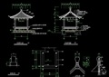 欧式风格详细的景观四角亭cad施工图