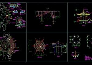 古典中式风格详细六角亭素材cad施工图