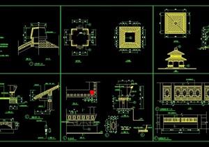 重檐四角亭素材设计cad施工图