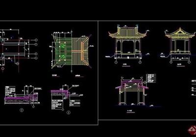 歇山亭木结构素材设计cad施工图