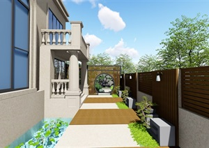 別墅庭院花園景觀設計SU(草圖大師)模型