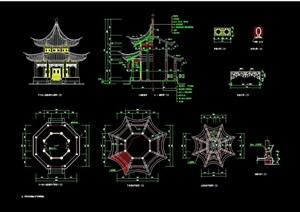 古典中式风格景观详细亭子设计cad施工图