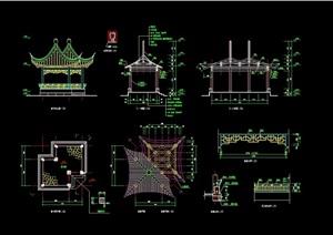 古典中式风格景观详细双亭cad施工图