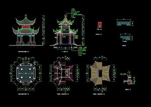 古典中式风格景观详细重檐亭素材cad施工图