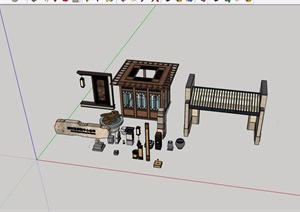 中式風格詳細的門廊、小品素材設計SU(草圖大師)模型