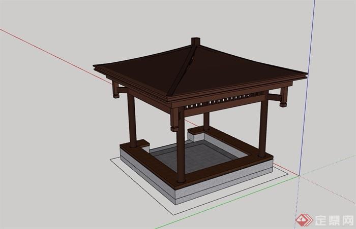 中式详细的完整亭子素材设计su模型