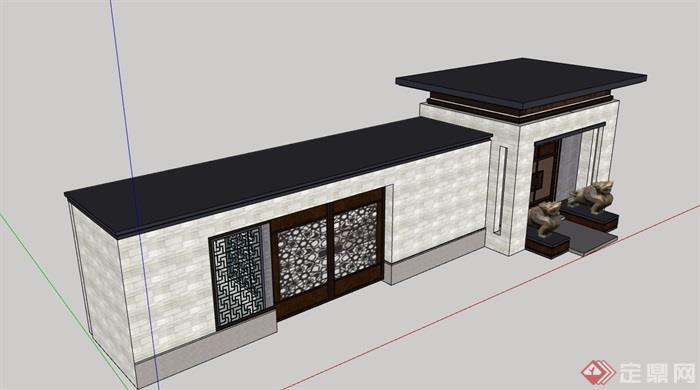 某中式庭院大门素材设计su模型