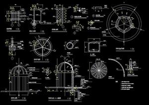 欧式亭穹形顶亭设计cad施工图