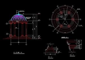 欧式圆形亭素材设计cad施工图