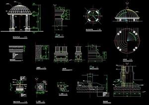 欧式圆形景观亭设计cad方案