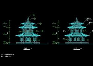 中式风格殿阁楼cad施工图