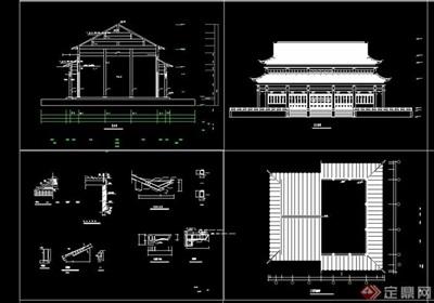 中式风格殿阁建筑设计cad施工图