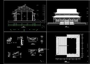 中式風格殿閣建筑設計cad施工圖