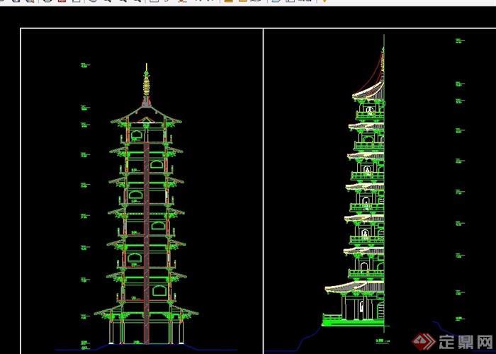 古典中式砖结构古塔设计cad方案