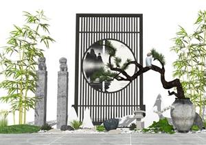 新中式庭院景觀 景觀小品 陶罐植物 隔斷 石頭組合SU(草圖大師)模型