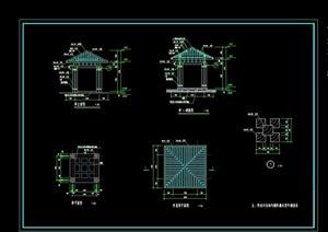 详细的观水亭素材设计cad施工图