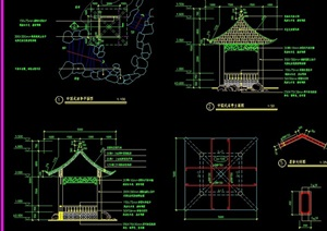 福建中国式凉亭设计cad施工详图