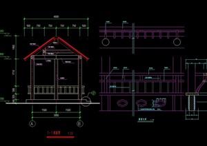 现代风格详细的整体六角亭素材设计cad施工图