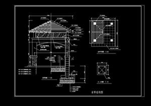 详细的凉亭素材设计cad施工图