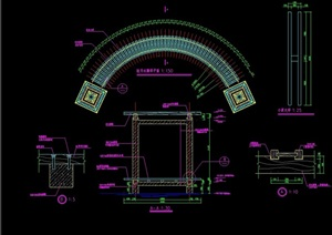 驻月水廊素材设计cad施工详图