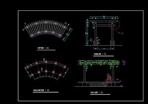 双层廊架做法设计cad施工详图