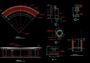 扇形花架廊架设计cad施工做法详图
