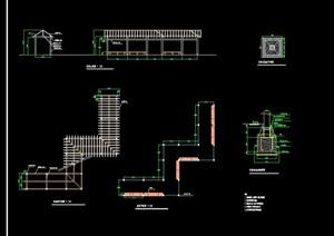 曲型花架廊架设计cad做法详图