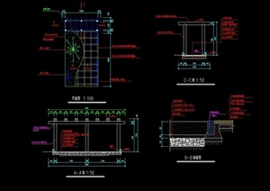 木制花架详细设计cad施工做法详图