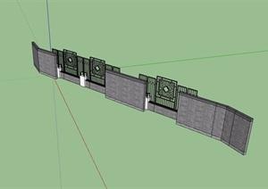 某现代中式风格详细的院墙素材设计SU(草图大师)模型