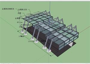 某现代风格详细的停车场入口廊架SU(草图大师)模型