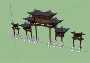 古典中式风格详细的木质牌楼设计SU(草图大师)模型