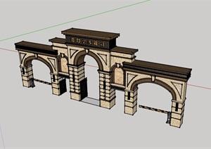 某现代风格详细的完整大门素材设计SU(草图大师)模型