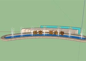 某现代风格logo水池景墙素材设计SU(草图大师)模型