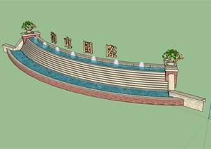 欧式风格详细的入口墙素材设计SU(草图大师)模型