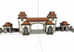 欧式风格详细的小区大门素材设计SU(草图大师)模型