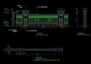 园林景观节点围墙、栏杆素材设计cad施工图