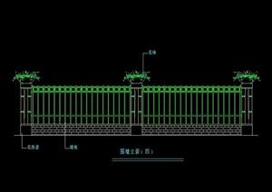 五种园林景观节点围墙栏杆素材设计cad方案图