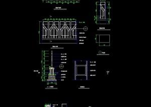 园林景观节点围墙素材设计cad施工图