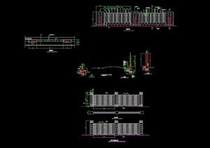 某独特节点围墙栏杆素材设计cad施工图