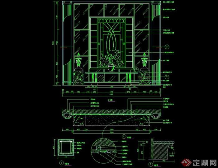 某欧式详细室内造型墙幕墙设计cad施工图