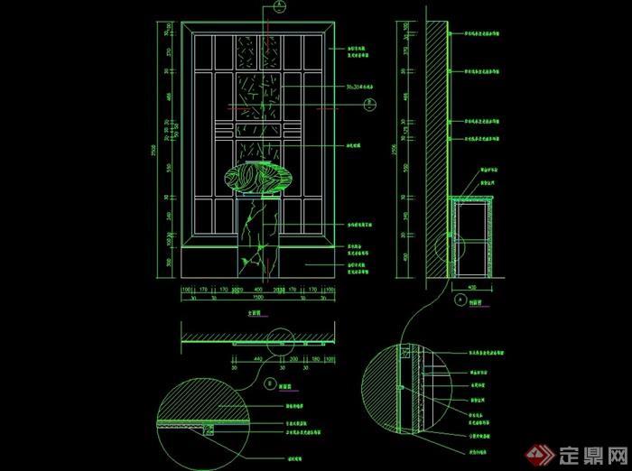 某室内墙幕墙设计cad施工图