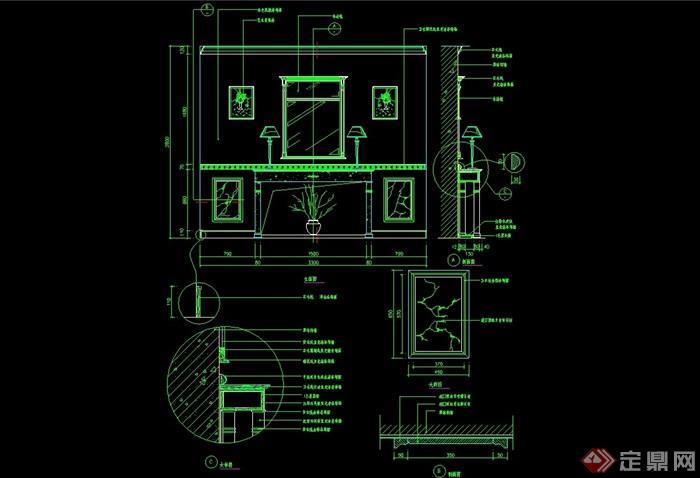 某独特室内造型墙幕墙设计cad施工图