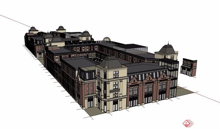 欧式风格详细的整体商业街建筑设计su模型