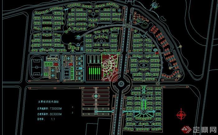 现代风格小区规划cad图纸(用地80公顷)