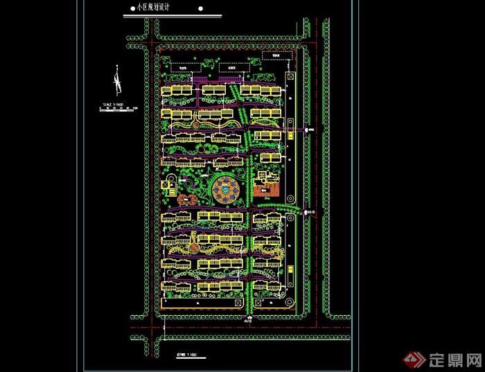 现代小区规划设计cad总平面图(用地10公顷)