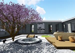日式庭院室內禪意景觀設計SU(草圖大師)模型