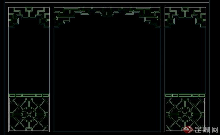 中式六种隔断墙设计cad方案