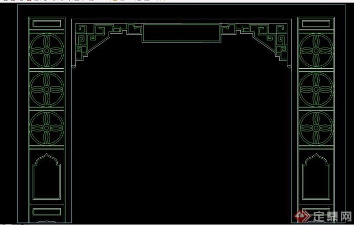 中式6个隔断墙素材设计cad方案