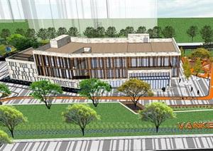 广场模型、现代广场效果、万科商业广场模型